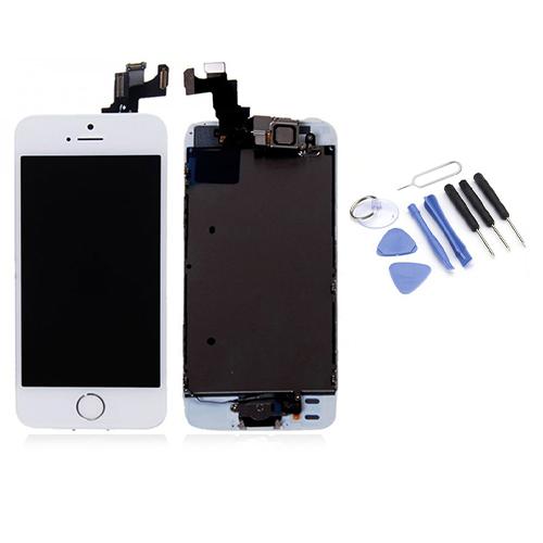 Écran de remplacement + vitre tactile sur châssis Tout Assemblé complet pour iPhone 5S blanc + Kit 9 OUTILS