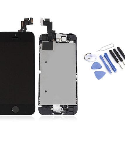 Écran de remplacement + vitre tactile sur châssis Tout Assemblé complet pour iPhone 5S noir + Kit 9 OUTILS