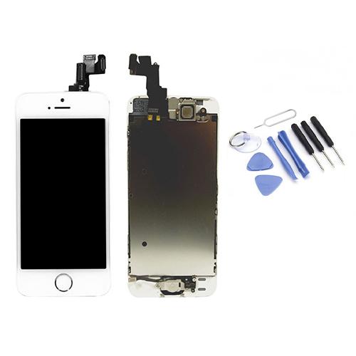 Ecran de remplacement + vitre tactile sur châssîs Tout Assemblé complet pour iPhone 5 blanc + Kit 9 OUTILS