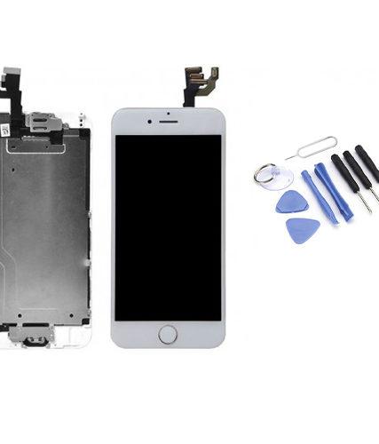 Ecran de remplacement + vitre tactile sur châssîs Tout Assemblé complet pour iPhone 6 blanc + Kit 9 OUTILS