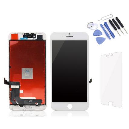 Écran iPhone 8P blanc Premium LCD+Tactile + Kit outils + Verre trempé